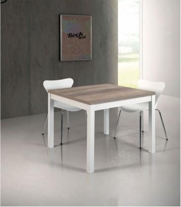 Tavolo quadrato a libro bianco e rovere primitivo