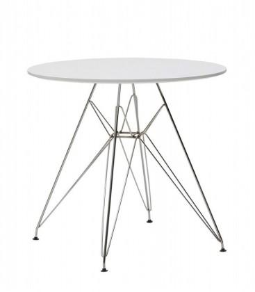 Tavolo tondo in legno con gambe in ferro cromato