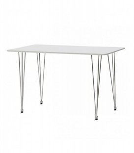 Tavolo rettangolare in legno con gambe in ferro