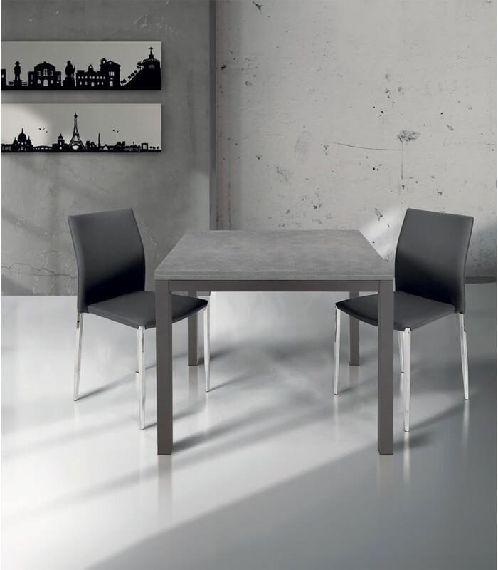 Tavolo Sedie Giardino Cemento.Tavolo Quadrato A Libro Moderno Grigio Cemento Struttura In Ferro
