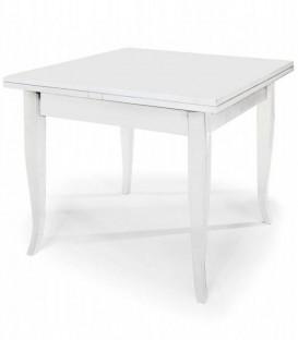 Tavolo Quadrato Allungabile Piedi a Sciabola Bianco