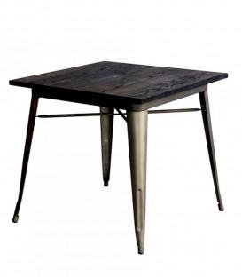 Tavolo in metallo con piano in legno Nero Tolix