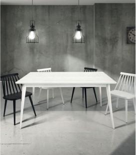 Tavolo di Design in Legno Allungabile Abete Spazzolato Bianco