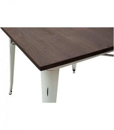 Tavolo metallo bianco con piano in legno