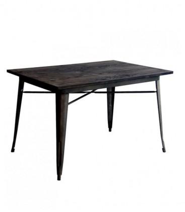 Tavolo in metallo con piano in legno Nero