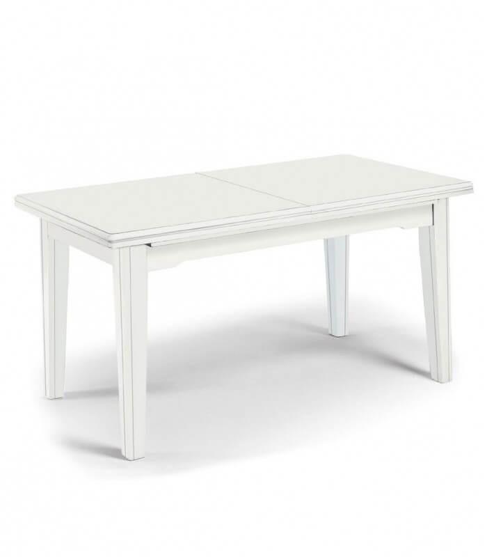 Tavolo Legno Laccato.Tavolo Da Pranzo Classico Allungabile In Legno Laccato Bianco