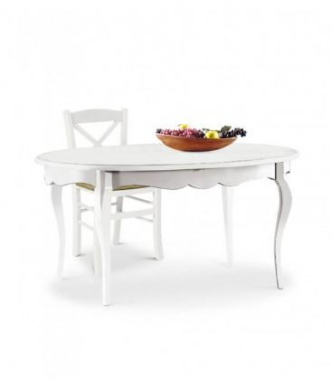 Tavolo in legno ovale allungabile bianco opaco