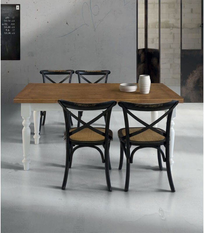 Tavolo Bianco Stile Provenzale.Tavolo In Legno Provenzale Bianco E Rovere Piedi Torniti Spazio Casa