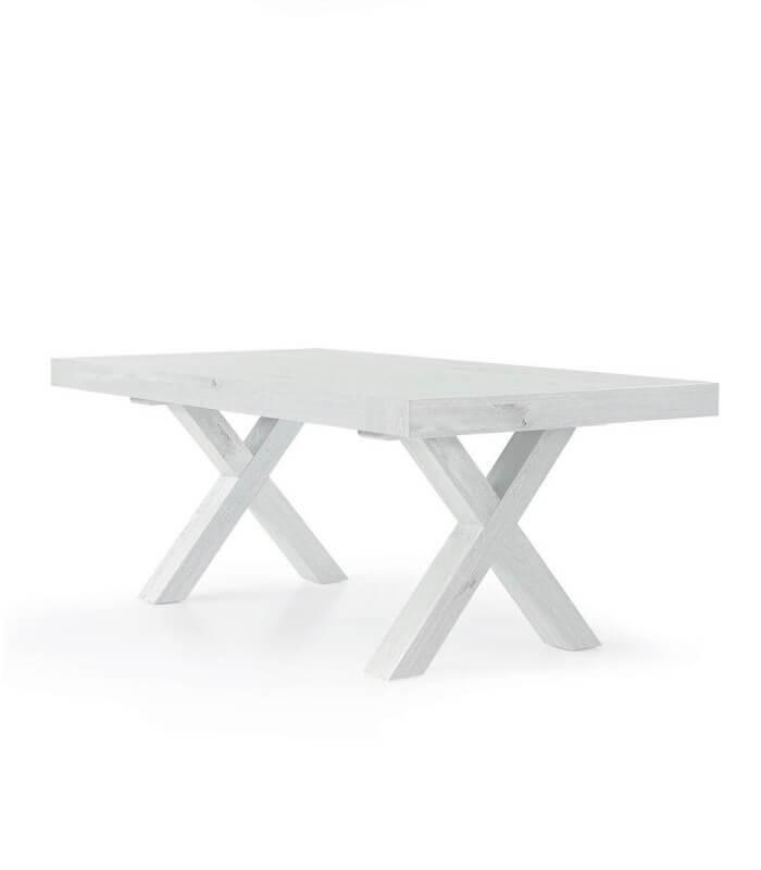 Tavolo con gambe incrociate ad X Bianco Consumato