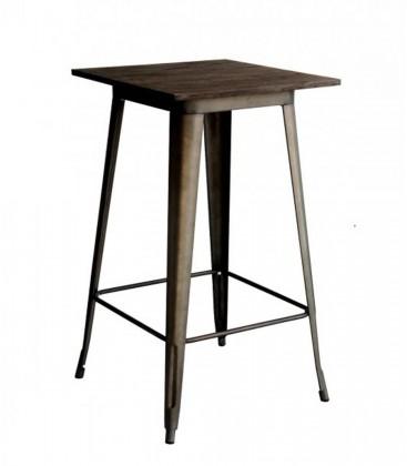 Tavolo in acciaio con piano legno alto Nero