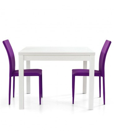 Tavolo legno quadrato apertura a libro Bianco frassino