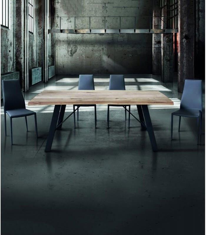 Tavolo In Legno Naturale Metallo Nero Spazio Casa