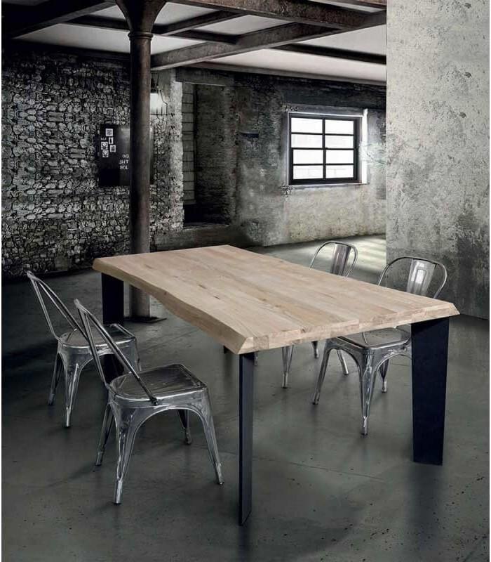 Tavolo Design Moderno Legno Metallo Nero Spazio Casa