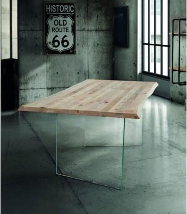 Tavolo piano in legno con gambe vetro
