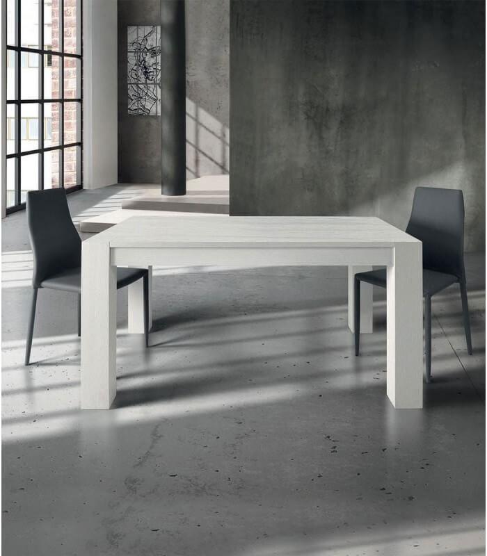 Tavolo Moderno Allungabile Rovere Bianco Spazzolato
