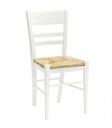Sedia laccato bianco con fondino in paglia