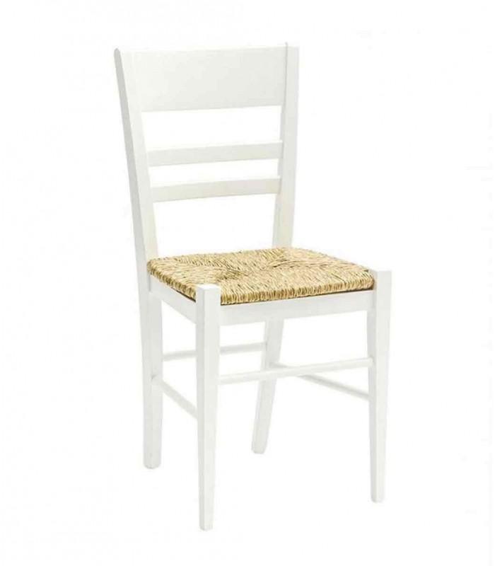 Sedie In Legno Laccate Bianco.Sedia Laccato Bianco Con Fondino In Legno Spazio Casa
