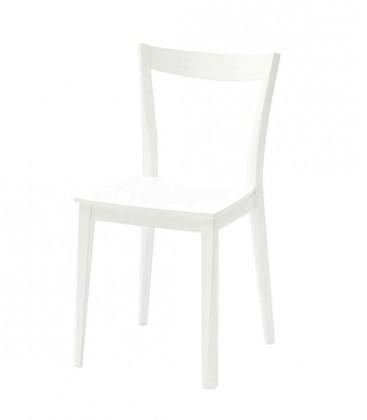 Sedia bianca con fondino in legno