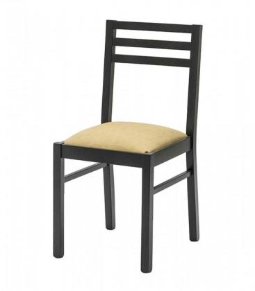 Sedia nera con fondino tappezzato