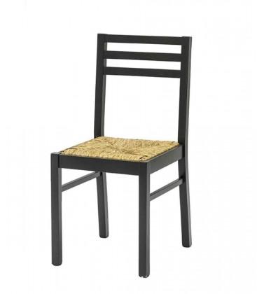 Sedia nera con seduta in paglia