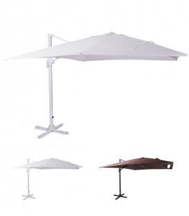 Ombrellone quadrato 3x3 parasole palo laterale rotazione con frizione a pedale
