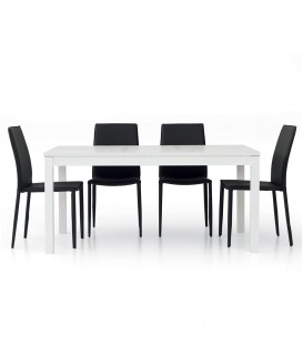 Tavolo Rettangolare 160 x 90 Allunghe Centrali Bianco Frassinato