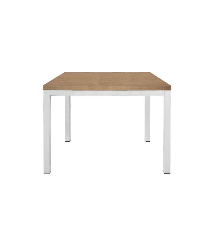 Tavoli A Libro Moderni.Tavolo Quadrato A Libro Moderno Struttura In Ferro Bianco E Piano Rovere