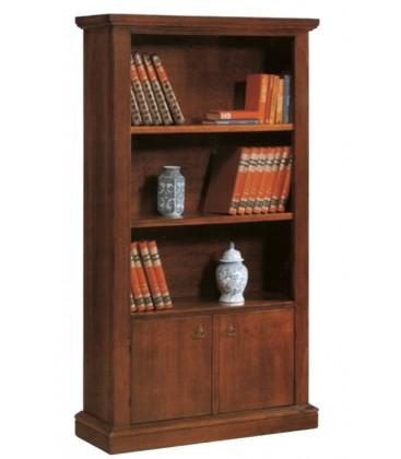Libreria in legno classica aperta 3 ripiani 2 ante Noce 105 x 40 H. 185 cm