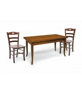 Set Tavolo da cucina 160 x 85 allungabile + 6 Sedie Legno massello