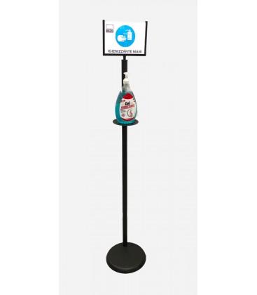 Colonna Porta Dispenser con Display in ferro base tonda per Disinfettante Gel Mani