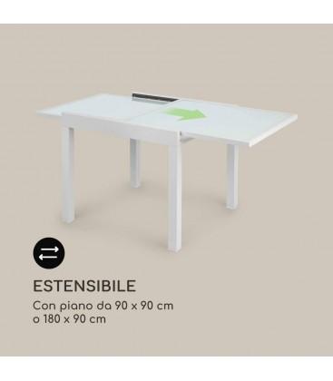 Tavolo Quadrato Bianco Allungabile in Vetro