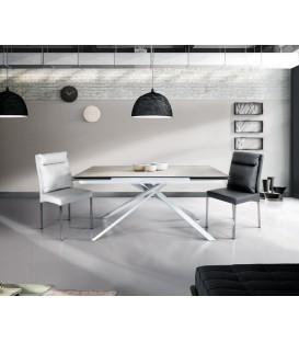 Tavolo Rettangolare Gambe Incrociate e Piano in Vetro Ceramica