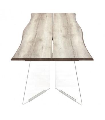 Tavolo con Base in Vetro e Piano in Legno