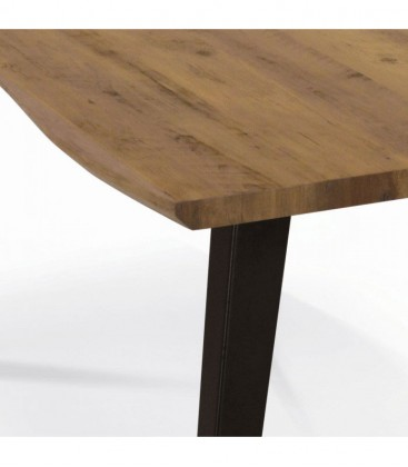 Tavolo Fisso Base in metallo e Piano in legno massello