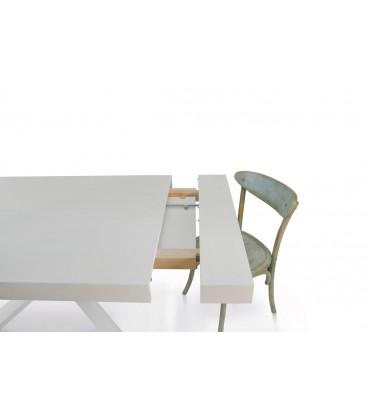 Sistema di apertura tavolo Allunghe Legno Massello Bianco