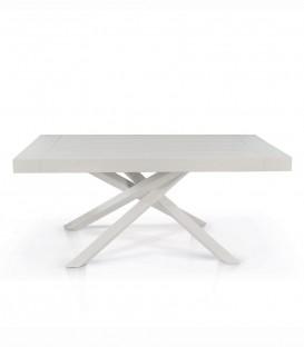 Tavolo Rettangolare Allungabile con Gambe Incrociate Piano Bianco Consumato