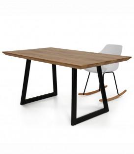 Tavolo Fisso Moderno con Base in Metallo e Piano in Legno Massello