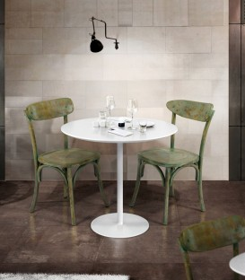 Tavolo Rotondo in Metallo Bianco Opaco
