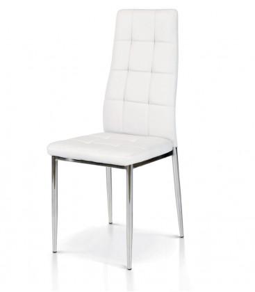 Sedia in Metallo cromato e Ecopelle Bianca