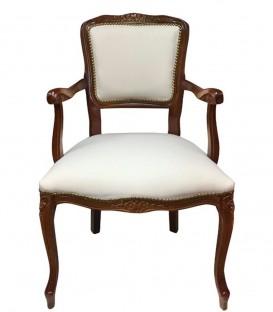 Poltrona Parigina in Legno Massello Intarsiato seduta in Ecopelle Bianca