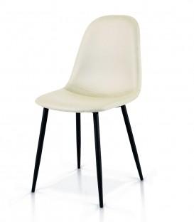 Sedia in Metallo con seduta in Ecopelle Bianco