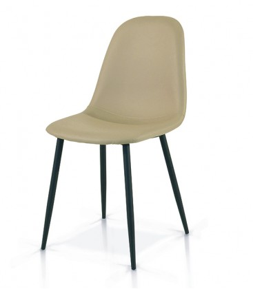 Sedia in Metallo con seduta in Ecopelle Beige