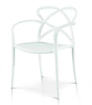 Sedia di Design in Polipropilene con Braccioli Bianca