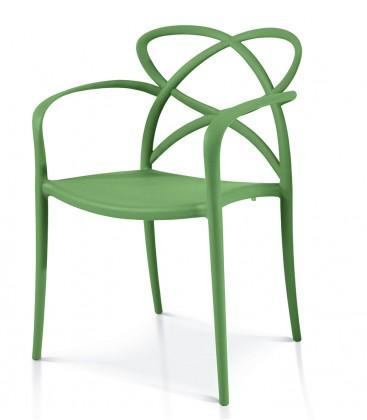 Sedia di Design in Polipropilene con Braccioli Avocado