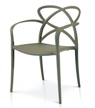 Sedia di Design in Polipropilene con Braccioli Grigio Caldo