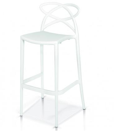 Sgabello di Design in Polipropilene con Braccioli Bianco