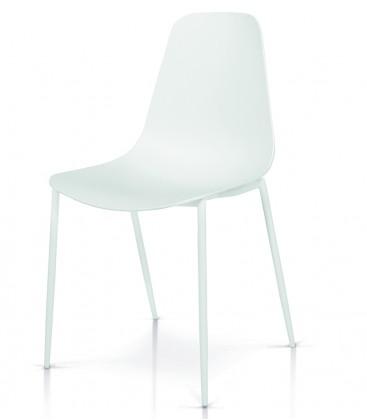 Sedia in Metallo con seduta in Polipropilene Bianco