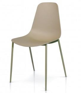 Sedia in Metallo con seduta in Polipropilene Grigio