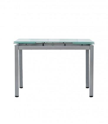 Tavolo rettangolare con piano in vetro allungabile Grigio
