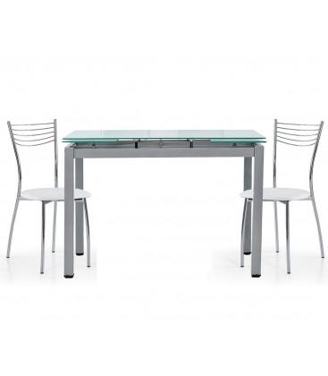 Set Tavolo bianco rettangolare allungabile in vetro + 4 Sedie in acciaio
